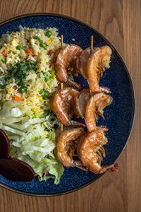 Tiger Prawns on Skewer & House Fried Rice